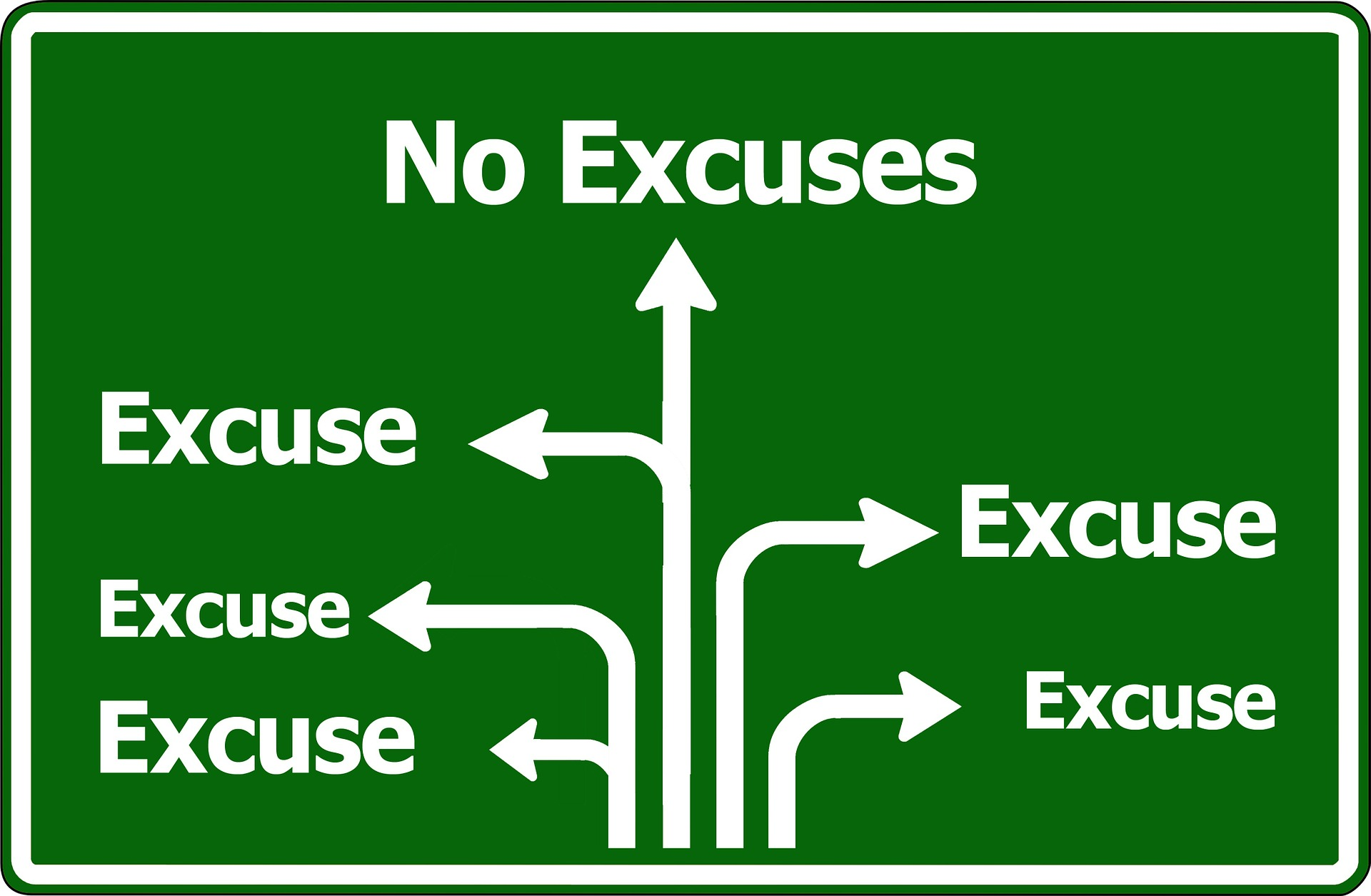 Image :panneau direction excuses ou non